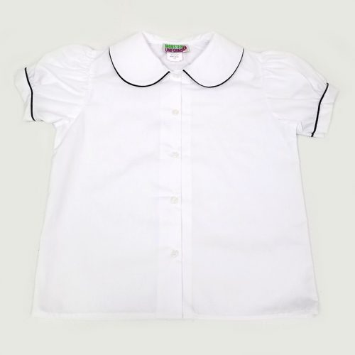 Peter Pan blouse with navy trim - Uniform Society